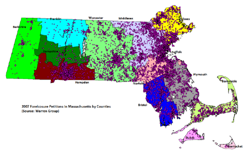 Map of 2007 foreclosures in Massachusetts